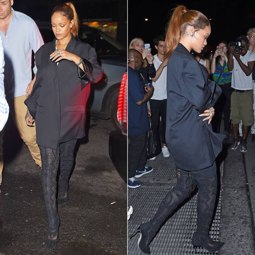 Rihanna wearing Sergio Rossi Fall 2015 black embroidered thigh high boots