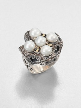 Konstantino sterling silver and 18k yellow gold pearl cross ring as seen on Rihanna