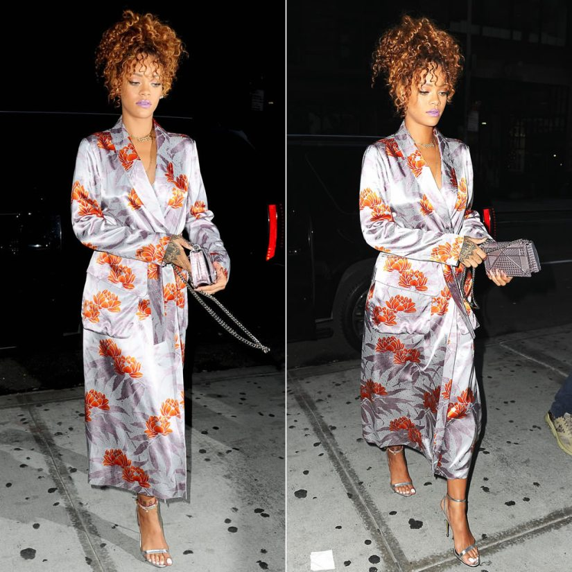 Rihanna wearing Dries Van Noten Daisy floral print robe dress, Tom Ford silver ankle strap padlock sandals, Dior metallic Diorama handbag