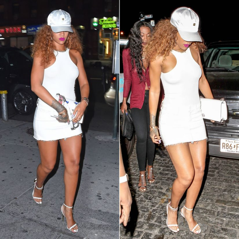 Rihanna wearing H&M white ribbed bodysuit, Mother white denim mini fray skirt, Tom Ford padlock naked strap sandals, Dior Resort 2016 Diorama handbag, VFILES Sport Plus white satin cap