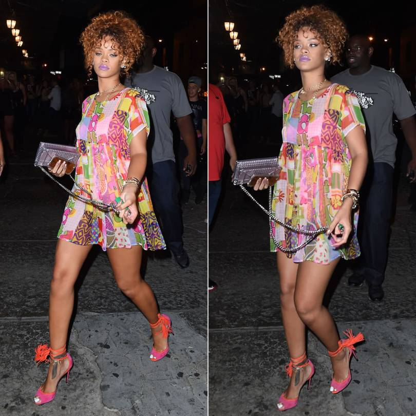 Rihanna wearing Jeremy Scott Spring 2015 patchwork mini dress, Pierre Hardy pink Majorelle sandals, Dior metallic Diorama handbag