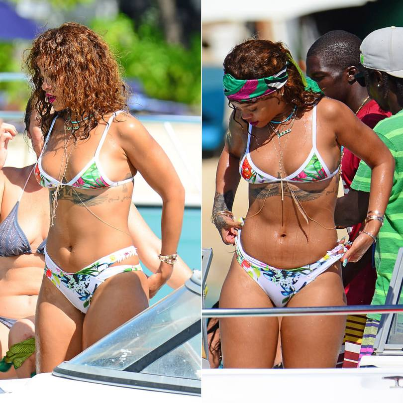 Rihanna wearing Lychee Swimwear floral print Tahiti bikini top and Hamptons bottom