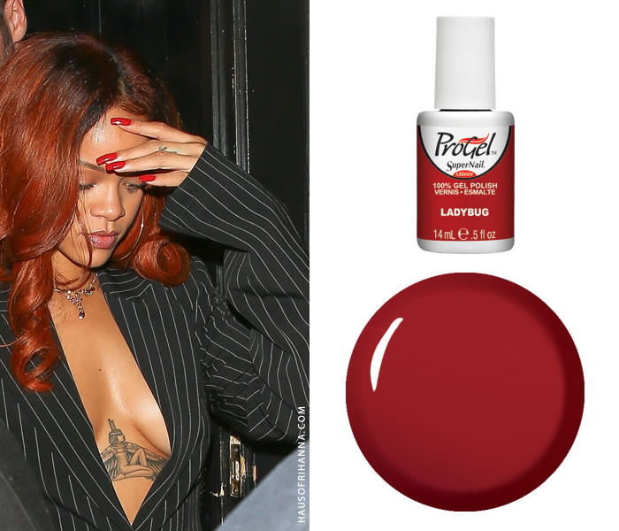 Rihanna wearing SuperNail gel colour in Ladybug