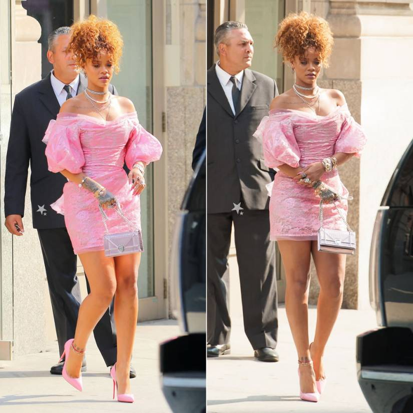 Rihanna wearing Vivienne West Red Label Fall 2015 pink lace dress, Christian Louboutin pink Pigalle Follies pumps, Christian Dior Diorama metallic handbag