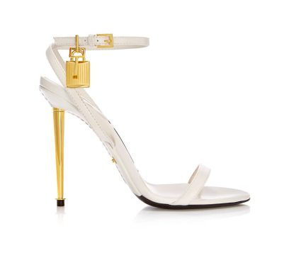 Tom Ford white padlock naked strap sandals as seen on Rihanna