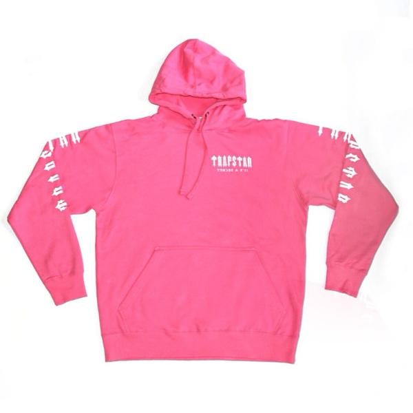 Trapstar pink Decoded hoodie as seen on Rihanna