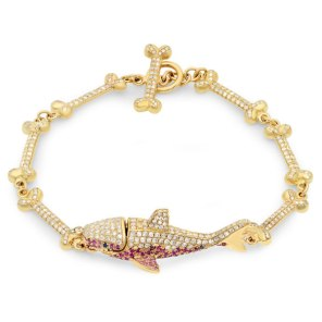 Travis Scott x Gold Teeth God diamond shark bracelet as seen on Rihanna