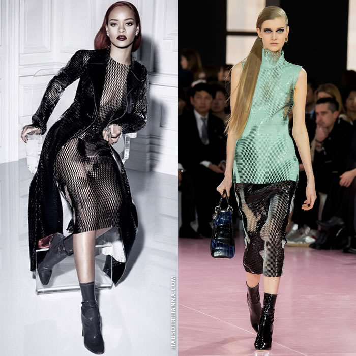 Rihanna wearing Dior Fall 2015 liquid mesh top and skirt in Dior magazine
