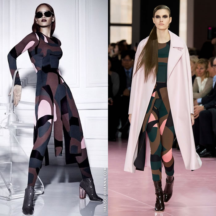 Rihanna wearing Dior Fall 2015 patterned top and leggings in Dior Magazine