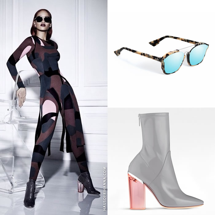 Rihanna wearing Dior Abstract sunglasses and Fall 2015 ankle boots in Dior Magazine