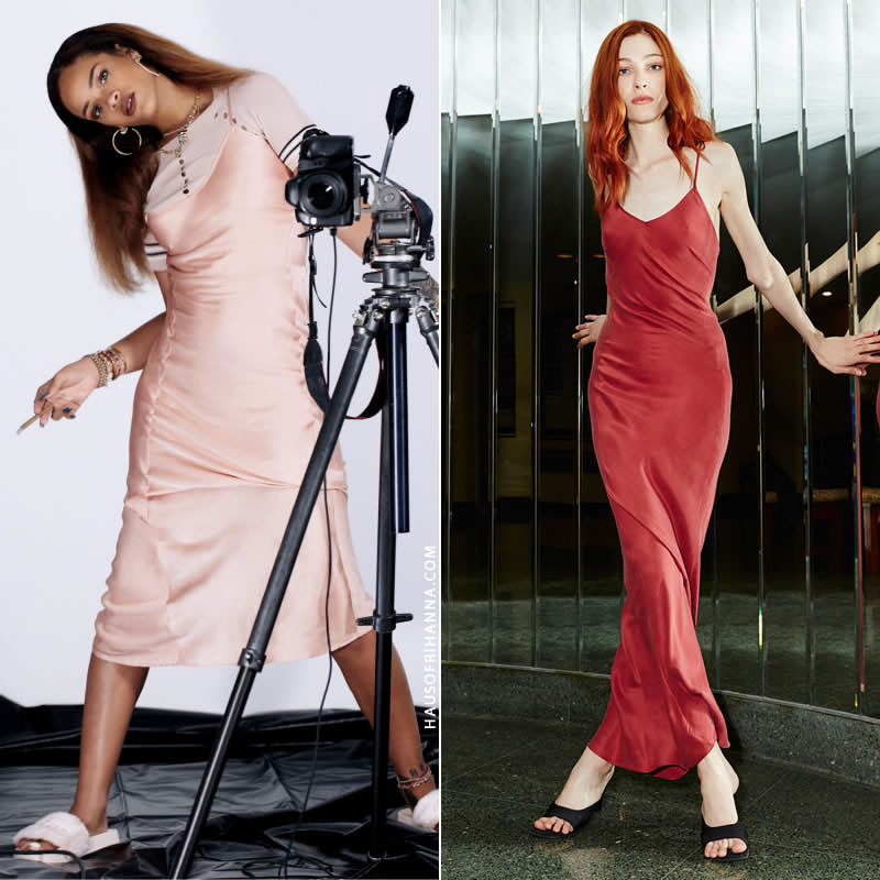 Rihanna wearing Awaveawake slip dress and Rochas t-shirt in Fader magazine