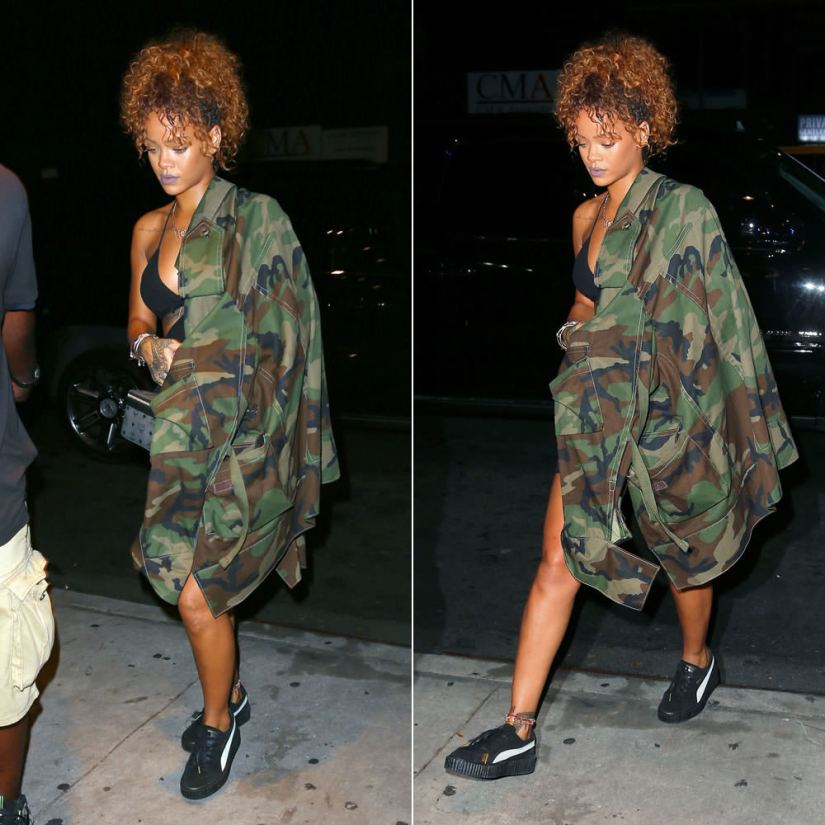Rihanna wearing Matthew Dolan Fall 2015 oversized camo jacket, Puma by Rihanna suede creepers