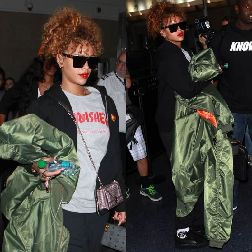 Rihanna wearing Thrasher skate mag t-shirt, skull sweatpants, flame logo zip hoodie, Puma x Mr Completely black suede creepers, Vetements Fall 2015 overiszed bomber jacket, Sass and Bide Shinjuku sunglasses