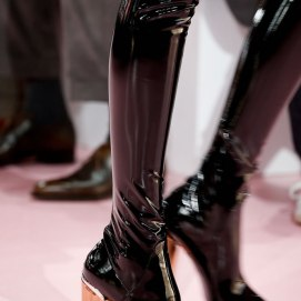 Dior Fall 2015 ready-to-wear thigh-high boots with perspex heel as seen on Rihanna