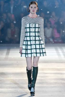 Dior pre-fall 2015 striped turtleneck dress as seen on Rihanna