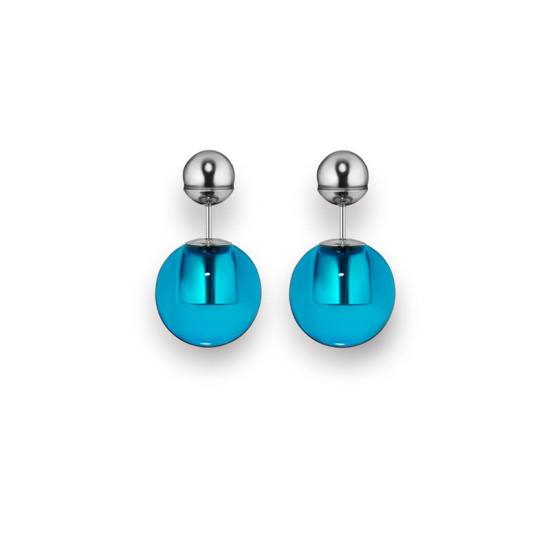 Dior Tribale palladium and blue resin earrings as seen on Rihanna