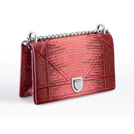 Dior small Diorama red graded lizard handbag as seen on Rihanna