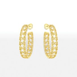 Dior My Dior 18k yellow gold hoop earrings as seen on Rihanna