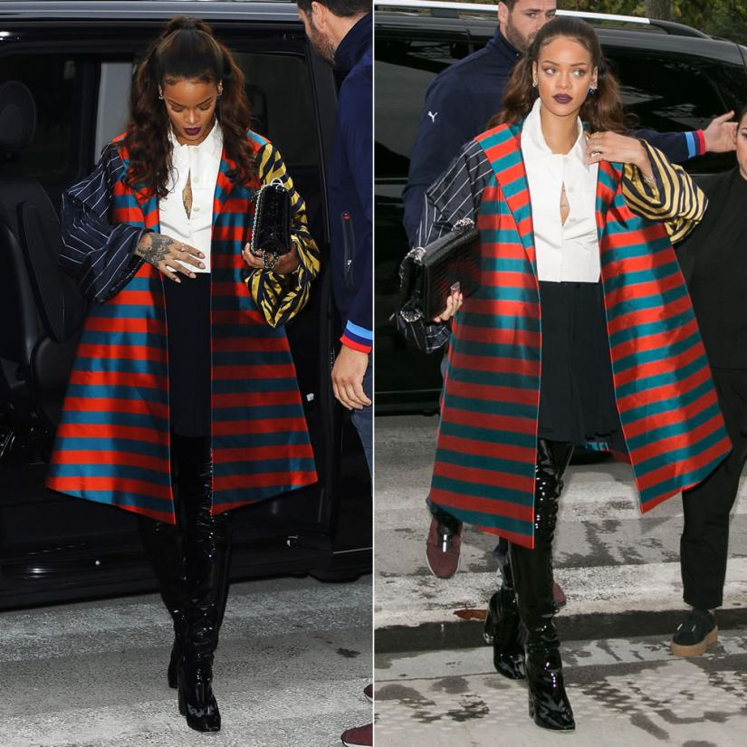 Rihanna wearing Christian Dior Fall 2013 couture striped coat and white button-front cropped top with Fall 2015 vinyl thigh-high boots, Dior Tribale blue earrings, My Dior rings and bracelets