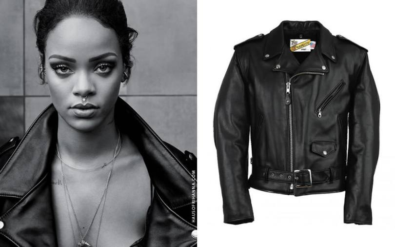 Rihanna wearing Schott NYC classic perfecto leather motorcycle jacket in T magazine October 2015