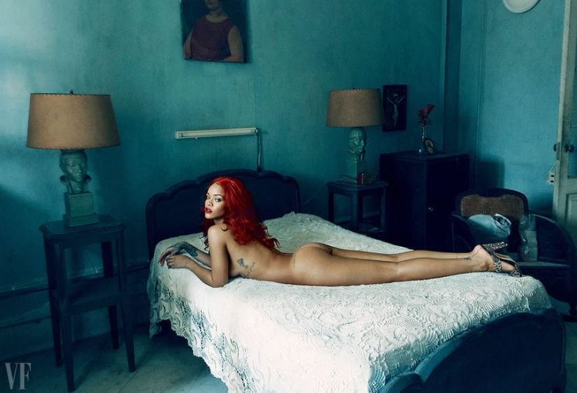 Rihanna in Vanity Fair November 2015 wearing Manolo Blahnik leopard mule sandals