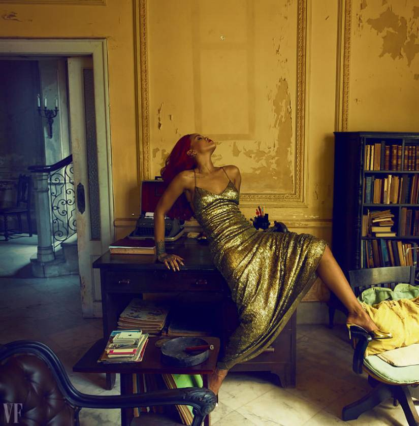 Rihanna in Vanity Fair November 2015 wearing Ralph Lauren Fall 2015 gold dress