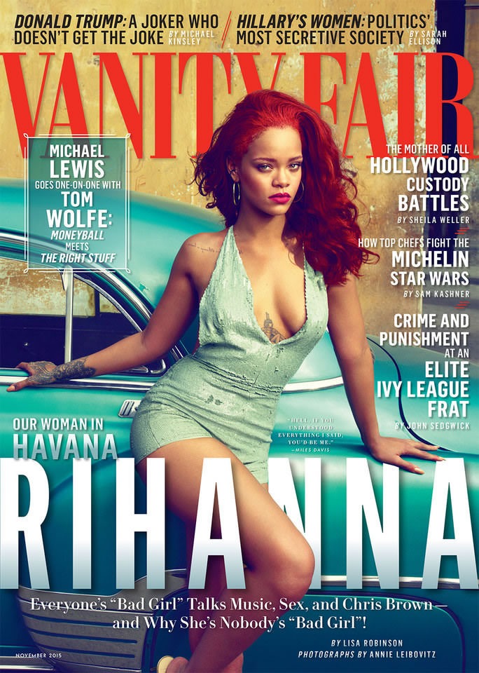 "Rihanna on the cover of Vanity Fair magazine November 2015 wearing Valentino couture, Jennifer Fisher 2"" square hoop earrings, Lynn Ban black diamond ear cuff"