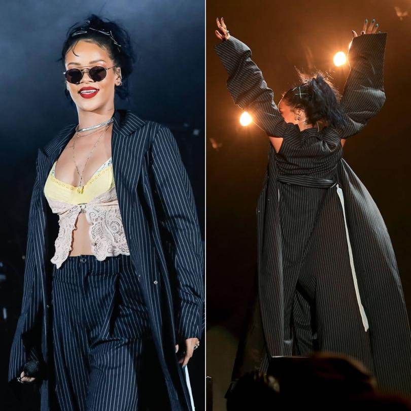 Rihanna wearing vintage Y/Project pinstripe suit at We Can Survive concert