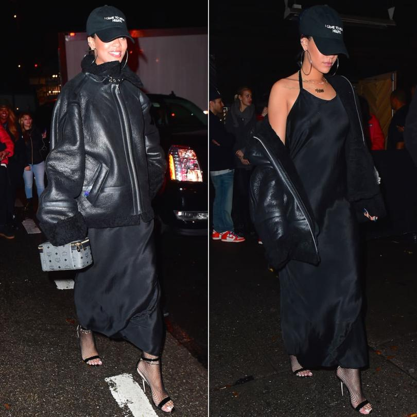 Rihanna wearing Nasaseasons I came to break hearts hat, Vetements shearling leather jacket, Manolo Blahnik Chaos sandals