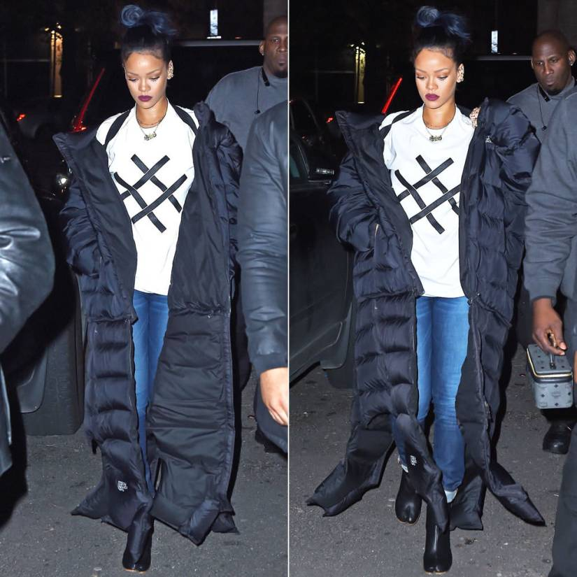 Rihanna Vetements puffer coat, Lucid FC white logo t-shirt, Maison Margiela Tabi split toe ankle boots