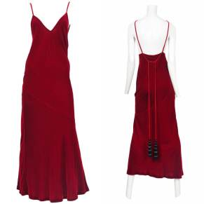 Jean Paul Gaultier vintage red velvet slip dress with tassels as seen on Rihanna