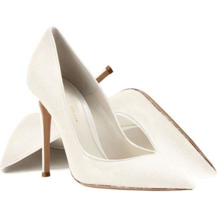 Gianvito Rossi white calf hair pumps as seen on Rihanna