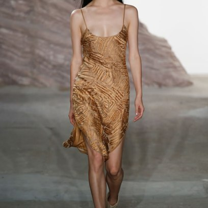 Maiyet Spring 2016 gold slip dress as seen on Rihanna