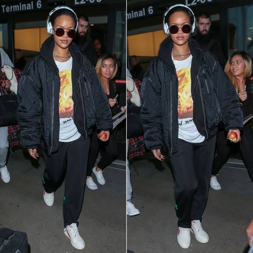 Rihanna Madonna Blond Ambition tour tee, Puma Boris Becker OG sneakers, Beats by Dre x Chen Man Solo2 headphones, Sunday Somewhere Valentine round sunglasses