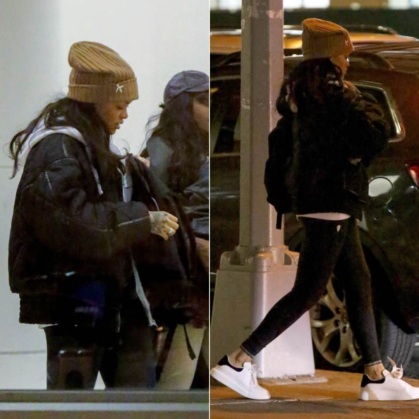 Rihanna Silver Spoon Attire bow beanie in brown sugar, Alexander McQueen oversized sole low top sneakers