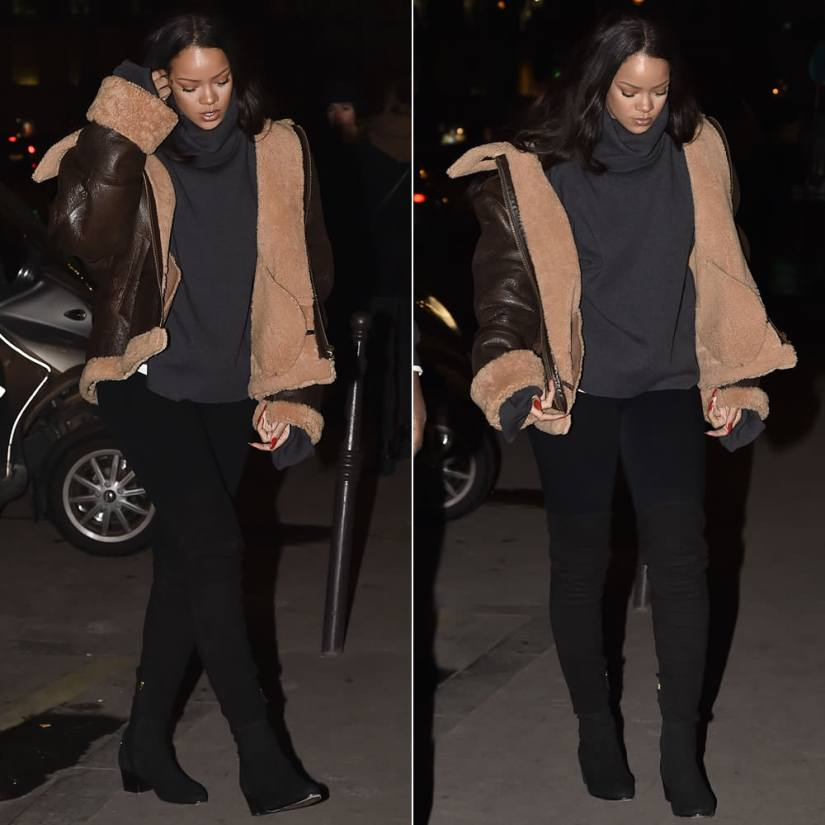 Rihanna Vetements brown shearling leather jacket, Chanel suede thigh high boots Paris