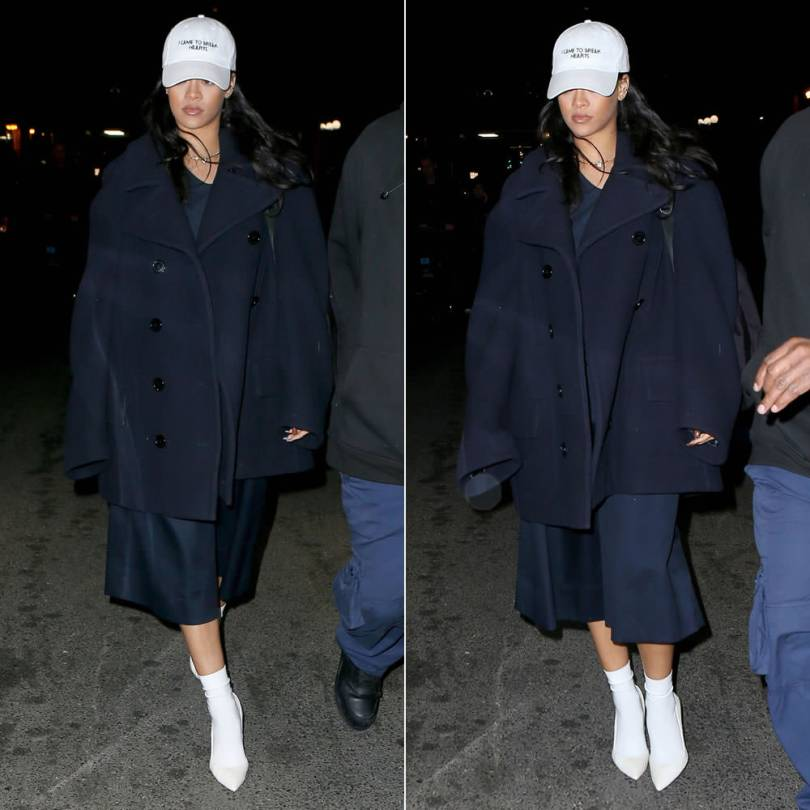 Rihanna Vetements oversized peacoat, Nasaseasons I came to break hearts white hat, Gianvito Rossi white calf hair pumps