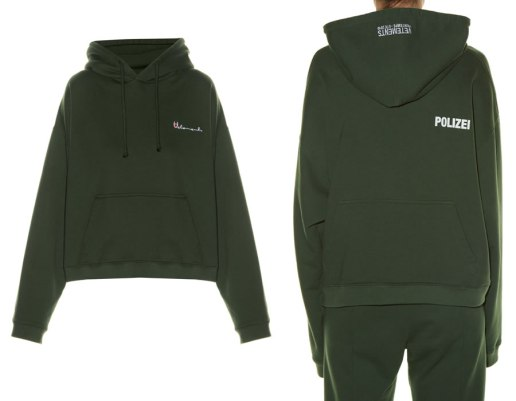 Vetements hooded Polizei-print sweatshirt as seen on Rihanna