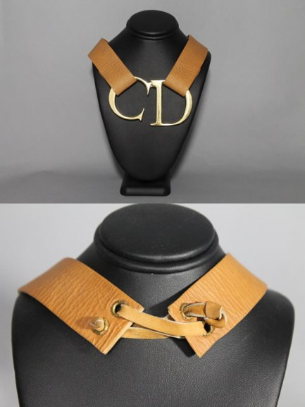 Christian Dior vintage logo strap choker as seen on Rihanna