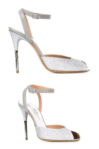 Maison Margiela glitter-embellished peep toe sandals as seen on Rihanna in Work music video