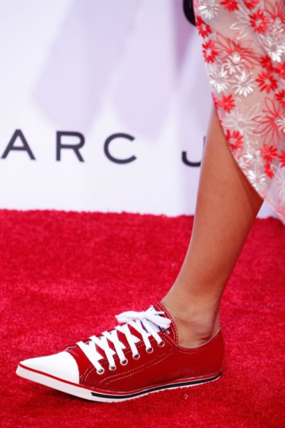 Marc Jacobs Spring 2016 red pointed-toe sneakers as seen on Rihanna