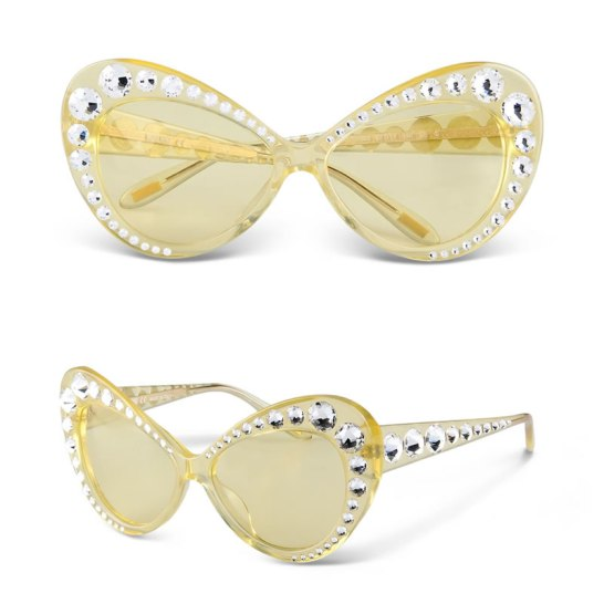 Moschino yellow crystal-embellished cat-eye sunglasses as seen on Rihanna