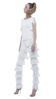 Norma Kamali white all over fringe boot pant as seen on Rihanna