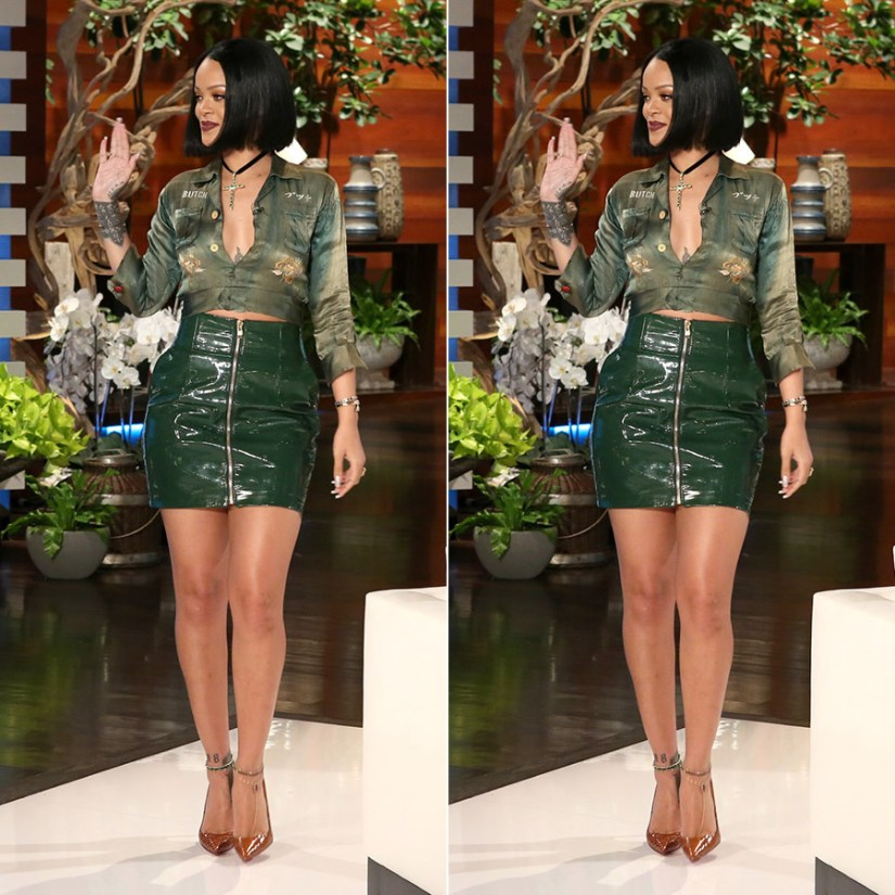Rihanna Alexandre Vauthier green leather skirt, Christian Louboutin So Kate orange python pumps, Roseark emerald gold cross on The Ellen Show 2016