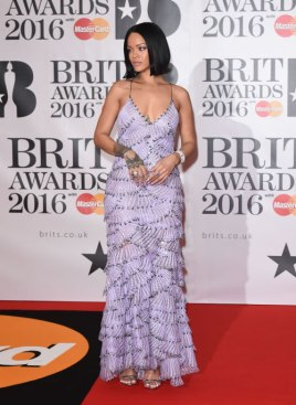 Rihanna at the 2016 Brit Awards in Armani Privé Spring 2016 couture