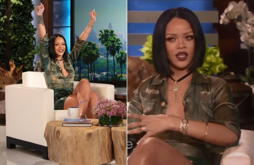 Rihanna Roseark emerald gold cross pendant, Yakira Rona gold leaf cuff, Walters Faith Quentin cuff, Melissa Kaye Josephine bangle on The Ellen Show