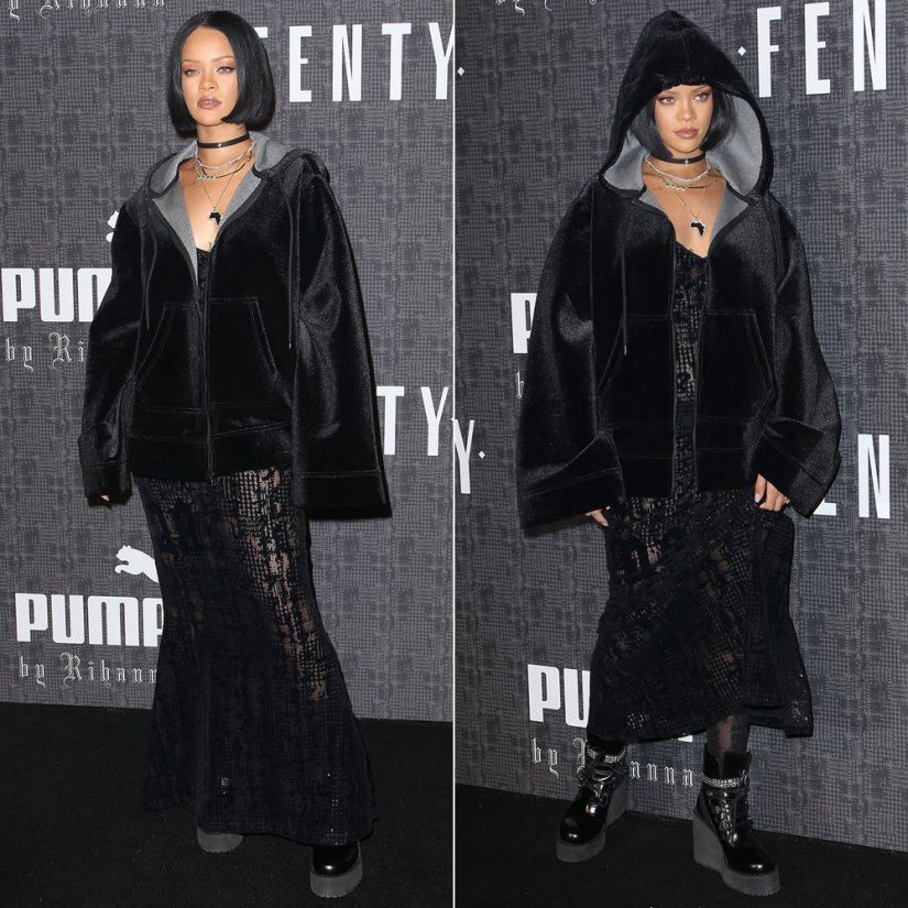 Rihanna Fenty x Puma hoodie, dress, socks and boots, Lynn Ban cross choker at the Fenty x Puma Fall 2016 show