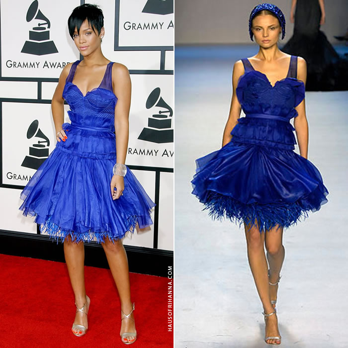Rihanna Grammy Awards 2008 Zac Posen blue dress, Chopard diamond cuff