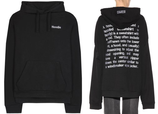 Vetements black embroidered hoodie as seen on Rihanna