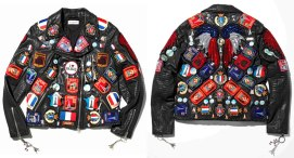 Dries Van Noten Paris patches leather biker jacket as seen on Rihanna
